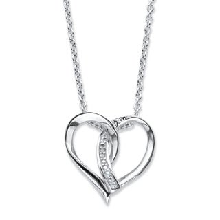 Sterling Silver Heart Pendant (18mm) Genuine Diamond Accent