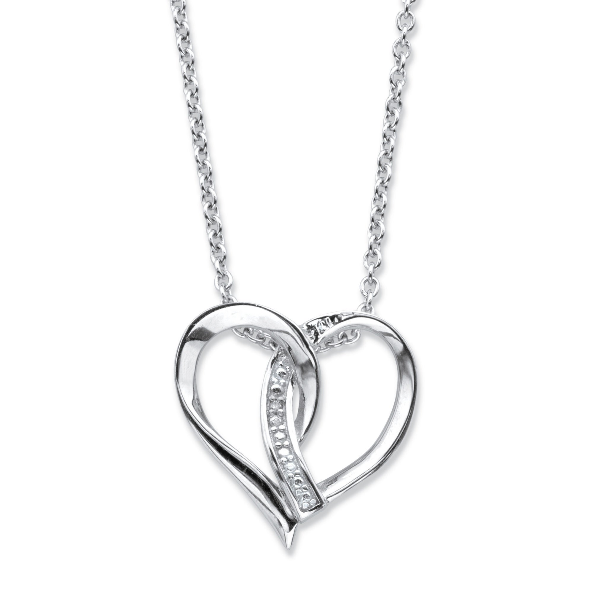 Rose Gold Plated Sterling Silver 2 Hearts Necklace CZ Accent 18-20 inch