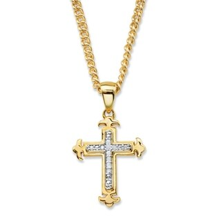 Yellow Gold-Plated Cross Pendant (15mm) Genuine Diamond Accent