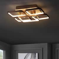 "Sebastian 17.5"" Integrated LED Metal Flush Mount Ceiling Light, Coffee by JONATHAN  Y"