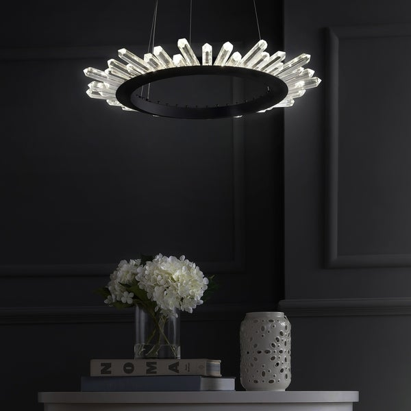 "Elsa 24"" Adjustable Integrated Led Modern Crystal Pendant, Black/Clear By Jonathan Y by Jonathan Y"