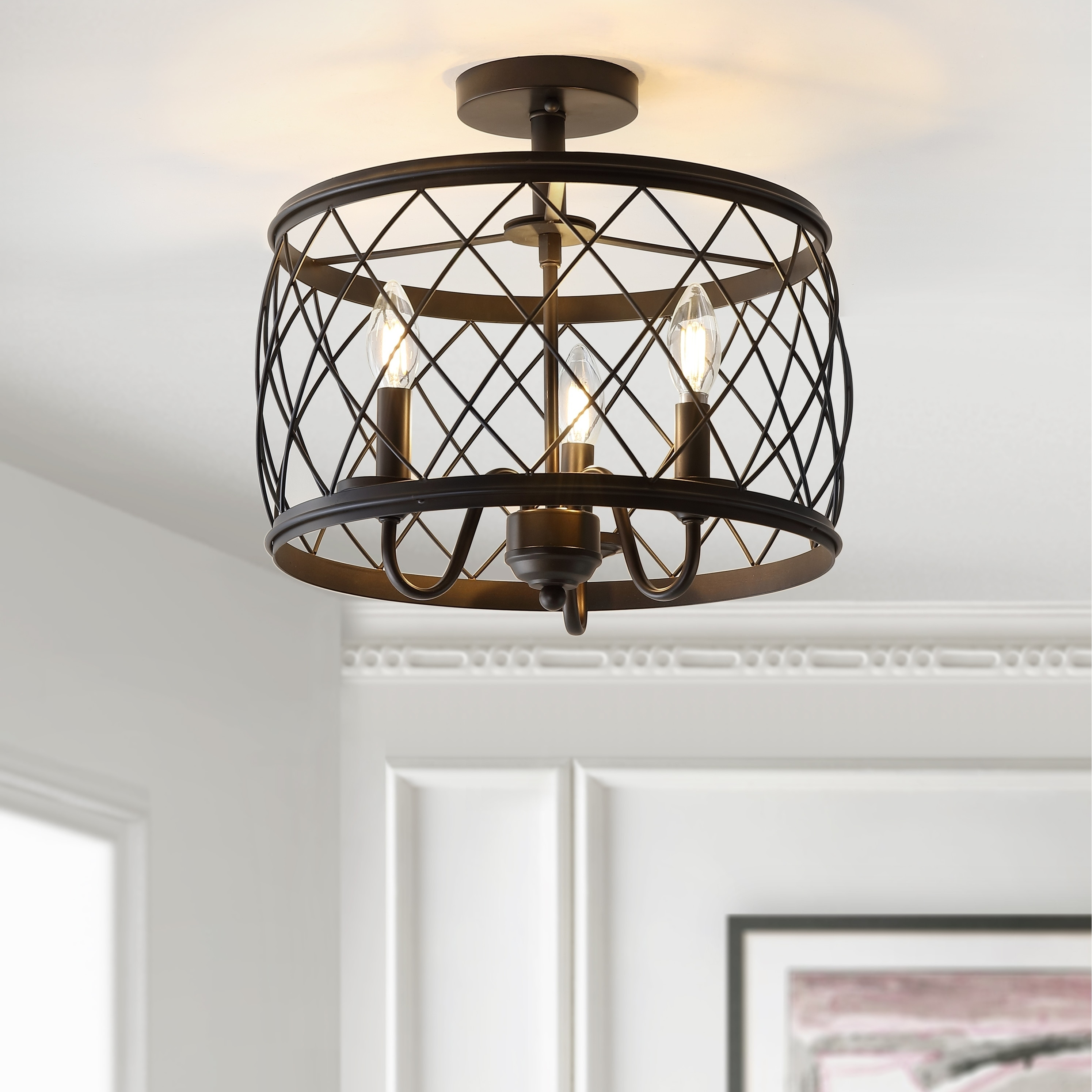 Eleanor 15 3 Light Metal Led Semi Flush Mount Ceiling Oil Rubbed Bronze By Jonathan Y