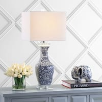 """May 28"""" Ceramic/Crystal LED Table Lamp, Blue/White by JONATHAN  Y"""