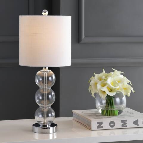 "February 21"" Glass/Metal LED Table Lamp, Clear/Chrome by JONATHAN Y"