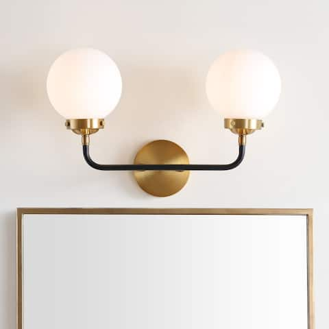 "Caleb 2-Light 18"" Brass Wall Sconce, Brass Gold/Black by JONATHAN Y"