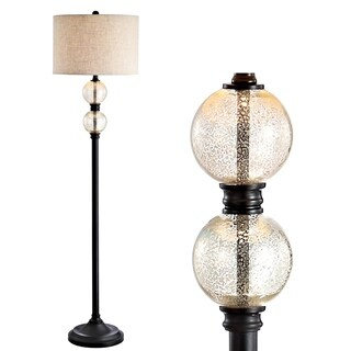 """January 60"""" Glass/Metal LED Floor Lamp, Mercury Glass/Oil Rubbed Bronze by JONATHAN Y"""