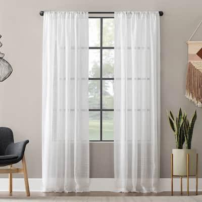 Clean Window Textured Slub Stripe Anti-Dust Curtain Panel, Single Panel