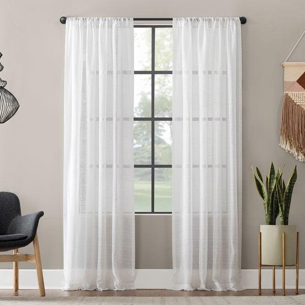 Clean Window Textured Slub Stripe Anti-Dust Curtain Panel. Opens flyout.