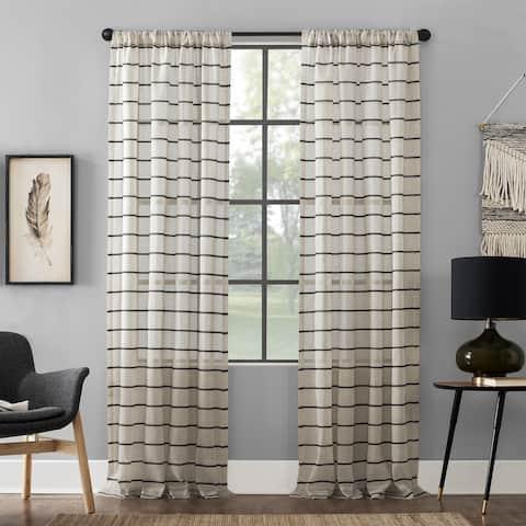 Clean Window Twill Stripe Anti-Dust Curtain Panel