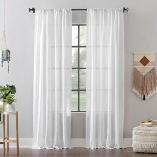 Clean Window Leno Weave Stripe Anti-Dust Curtain Panel