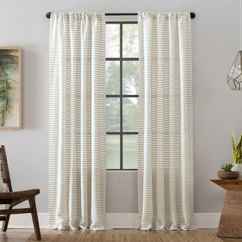 Clean Window Modern Check Pattern Anti-Dust Curtain Panel