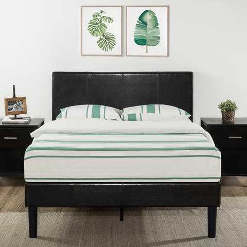 Queen Size Agra Grand Upholstered Faux Leather Platform Bed with Headboard & Wooden Slats - Crown Comfort