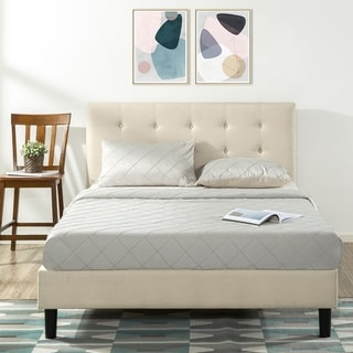 Link to Copper Grove Tarter King Upholstered Platform Bed with Tufted Headboard Similar Items in Bedroom Furniture