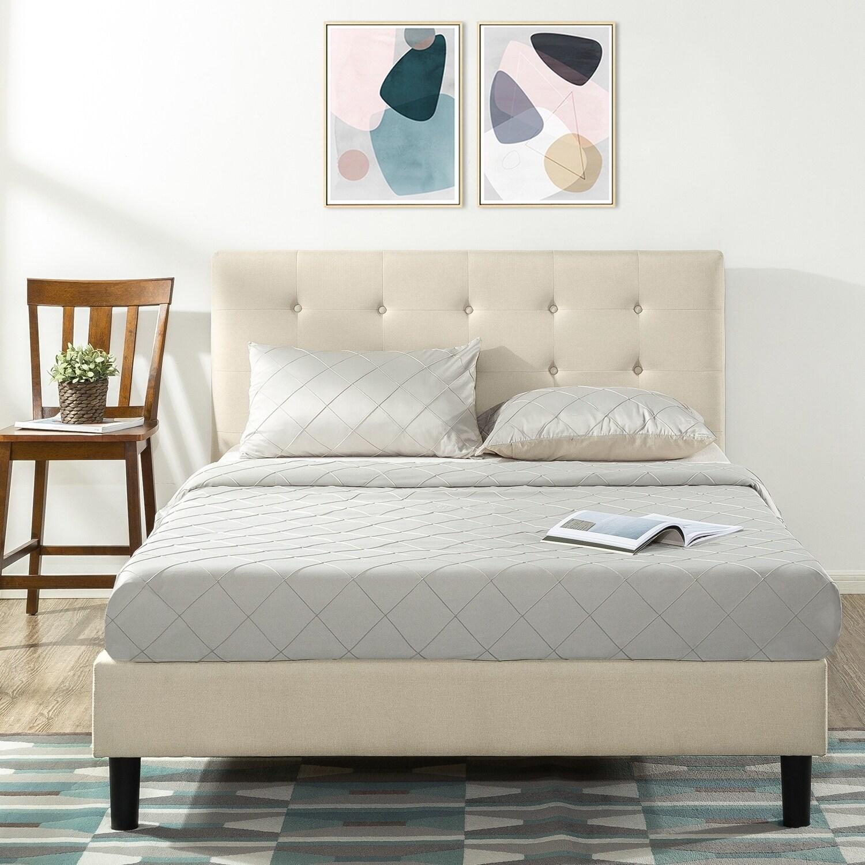 Copper Grove Tarter Queen Upholstered Platform Bed With Tufted Headboard Overstock 25859038