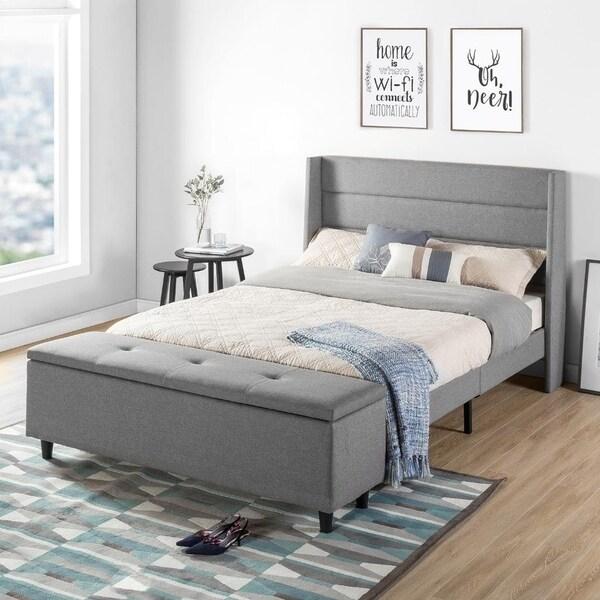 Shop Crown Comfort Grey Modern Upholstered Queen Size Platform Bed