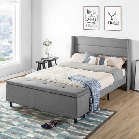 Queen Size Modern Upholstered Platform Bed with Headboard and Storage Ottoman - Crown Comfort