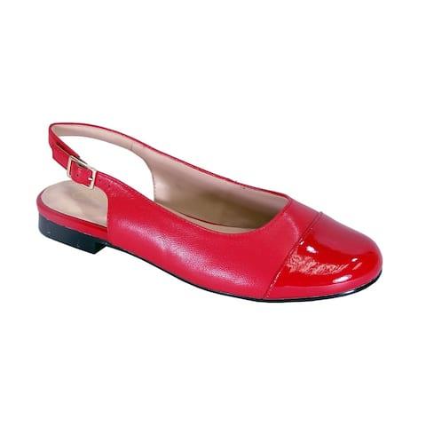 PEERAGE Kennedy Women Wide Width Slingback Casual Leather Flats