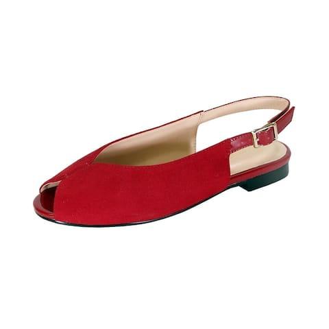 PEERAGE Kelsey Women Wide Width Peep Toe Slingback Comfort Suede Flat