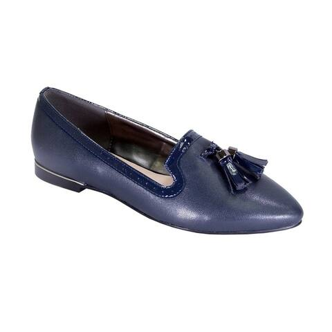 PEERAGE Brenna Women Wide Width Comfort Leather Slip On Dress Flats