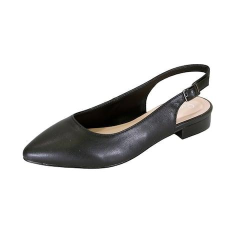 5b290845836c03 PEERAGE Macy Women Wide Width Leather Slingback Dress or Casual Flats
