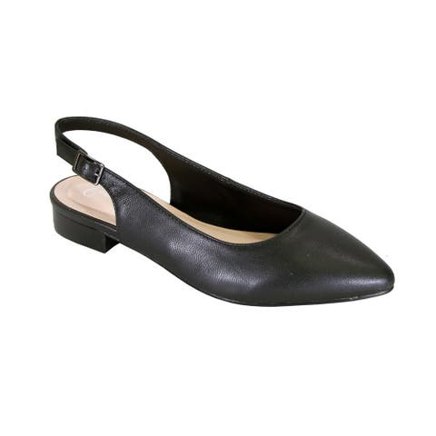 PEERAGE Macy Women Wide Width Leather Slingback Dress or Casual Flats