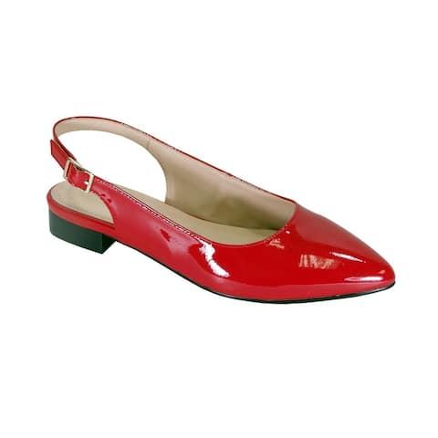 PEERAGE Fay Women Wide Width Patent Leather Dress Slingback Flats