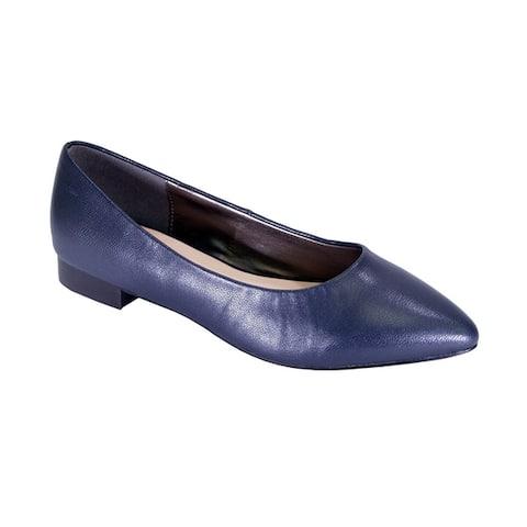 PEERAGE Tasha Women Wide Width Classic Pointed Toe Leather Dress Flats