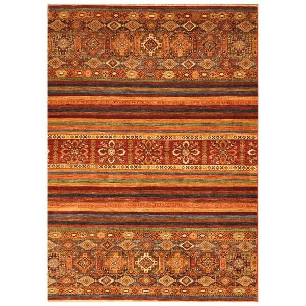 Handmade Super Kazak Wool Rug (Afghanistan) - 5'7 x 7'10