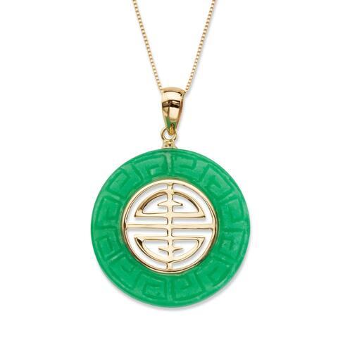 "10K Yellow Gold Pendant ""Longevity"" Genuine Green Jade"