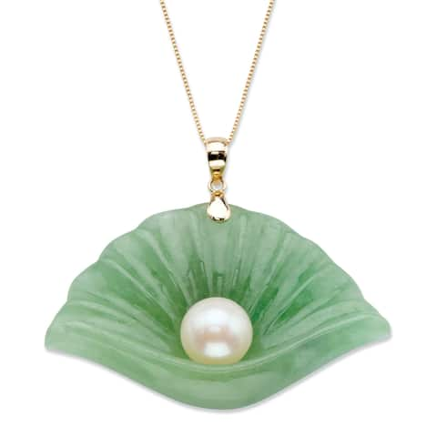 10K Gold Pendant Jade Shell and Genuine Cultured Freshwater Pearl