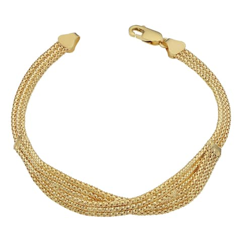 18k Yellow Gold Braided Triple Row Popcorn Bracelet (7.5 inch)