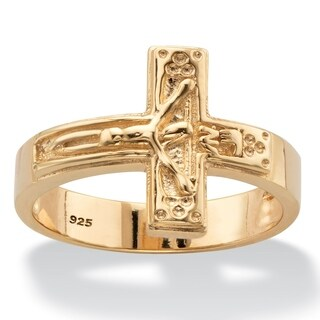 Yellow Gold over Sterling Silver Horizontal Cross Ring