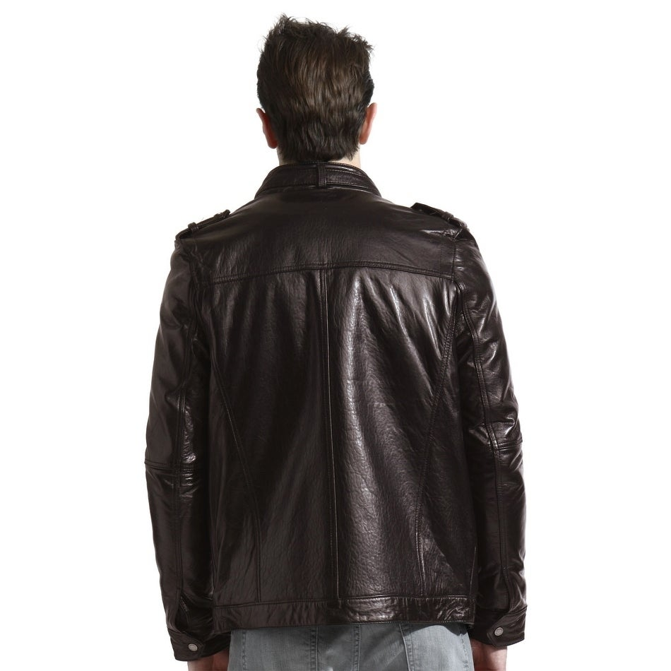 New Mens Leather Motorcycle Jacket Slim fit Leather Jacket Coat A558