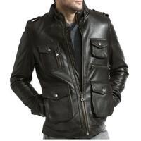 Brown Pebble Lamb Leather Moto Field Jacket