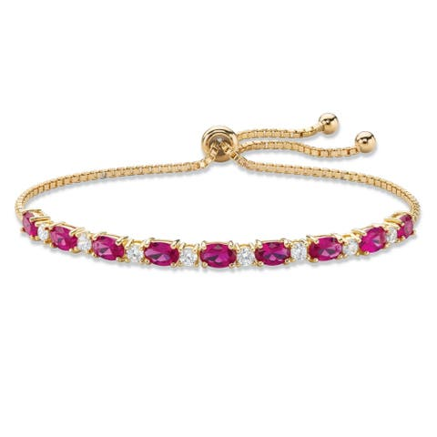 """Gold-Plated Simulated Ruby and CZ Drawstring Bracelet 10"""" Adjustable"""