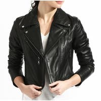 Black Lamb Leather Biker Jacket