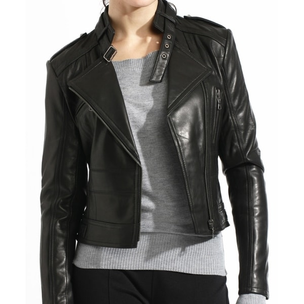 Black Lamb Leather Moto Biker Jacket Slim Fit