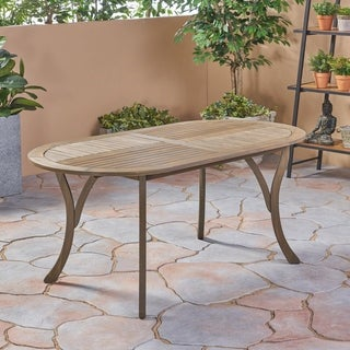"""Hermosa Outdoor Acacia Wood 70"""" Oval Dining Table, Gray by Christopher Knight Home"""