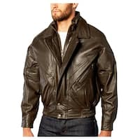Brown Double Collar Moto Lamb Leather Bomber Jacket