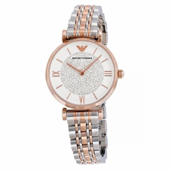 Armani White Pave Dial Two-tone Ladies Watch - 39mm