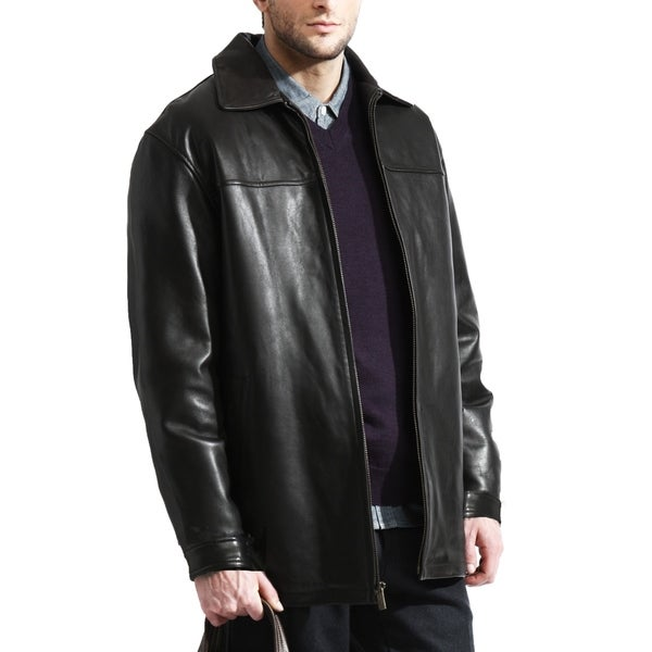 The Ultimate Black Lambskin Leather Car Coat by  New Design