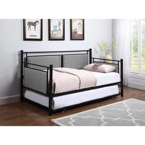 Shop Joelle Grey And Black Upholstered Twin Daybed With
