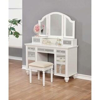 White and Tan 3-piece Vanity Set