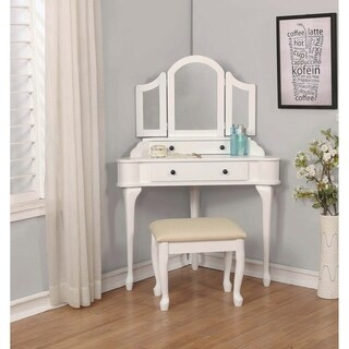 White and Beige 3-piece Vanity Set