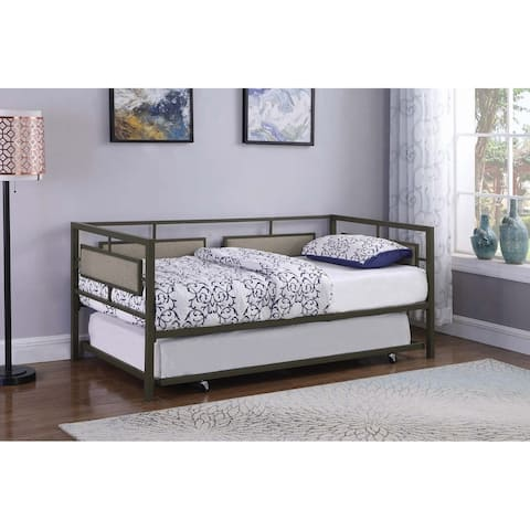 Copper Grove Kamenets Gunmetal and Beige Twin Daybed with Trundle