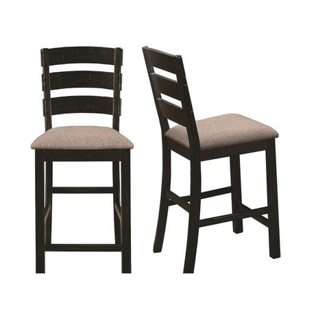 Copper Grove Landen Black and Taupe Ladder-back Counter Stools (Set of 2)