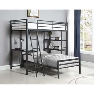 Porch & Den Ackert Gunmetal 3-shelf Twin Workstation Loft Bed