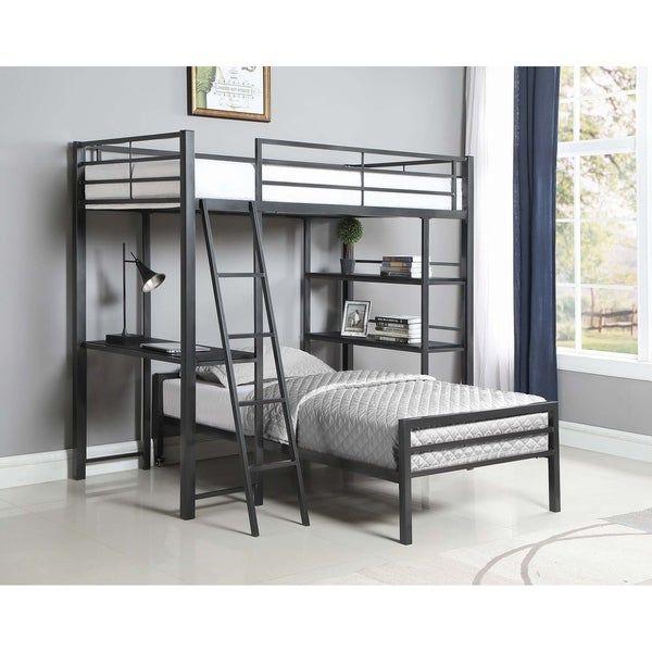 Porch & Den Ackert Gunmetal 3-shelf Twin Workstation Loft Bed