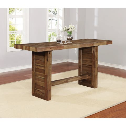 "Tucson Varied Natural Rectangular Bar Table - 26.75"" x 77"" x 42.25"""