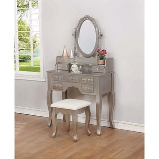 Silver and White 3-piece Vanity Set